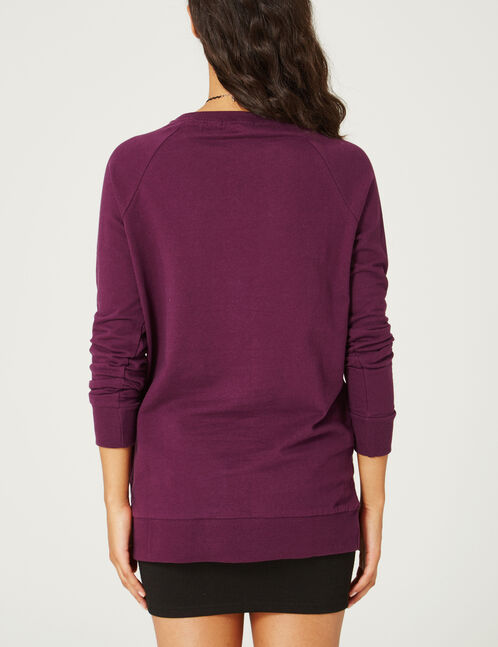 Long purple sweatshirt with text design detail