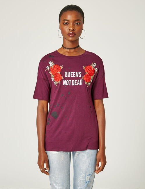 tee-shirt ouverture dos violet