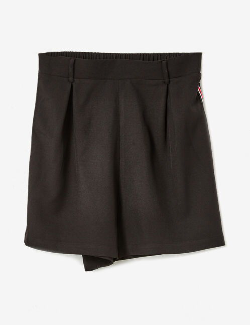 Black tailored shorts with striped side trim detail