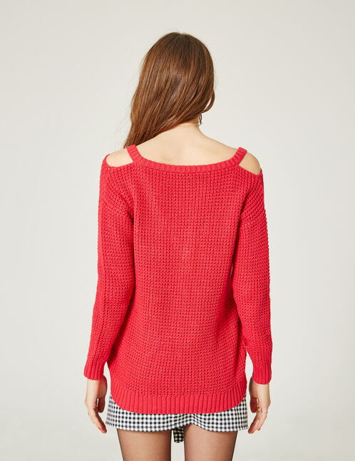 Raspberry pink jumper with cut-out neckline detail