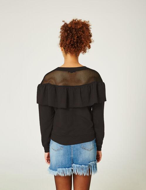 Black sweatshirt with mesh detail