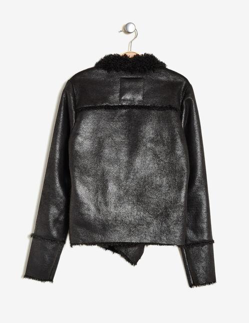 veste jetée doublée noire brillante