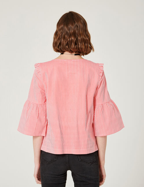 blouse rayé manches pagodes rouge et blanche
