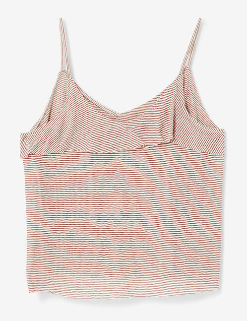 Cream and burgundy striped frilled tank top