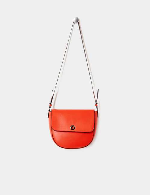 Red crossbody bag with eyelet detail
