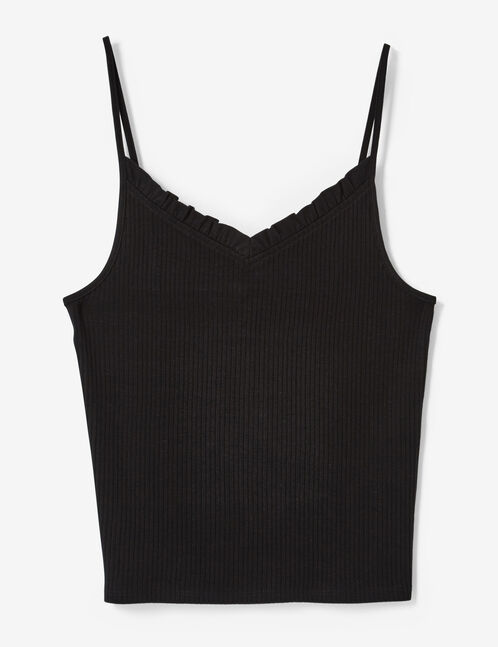 Black tank top with frill detail