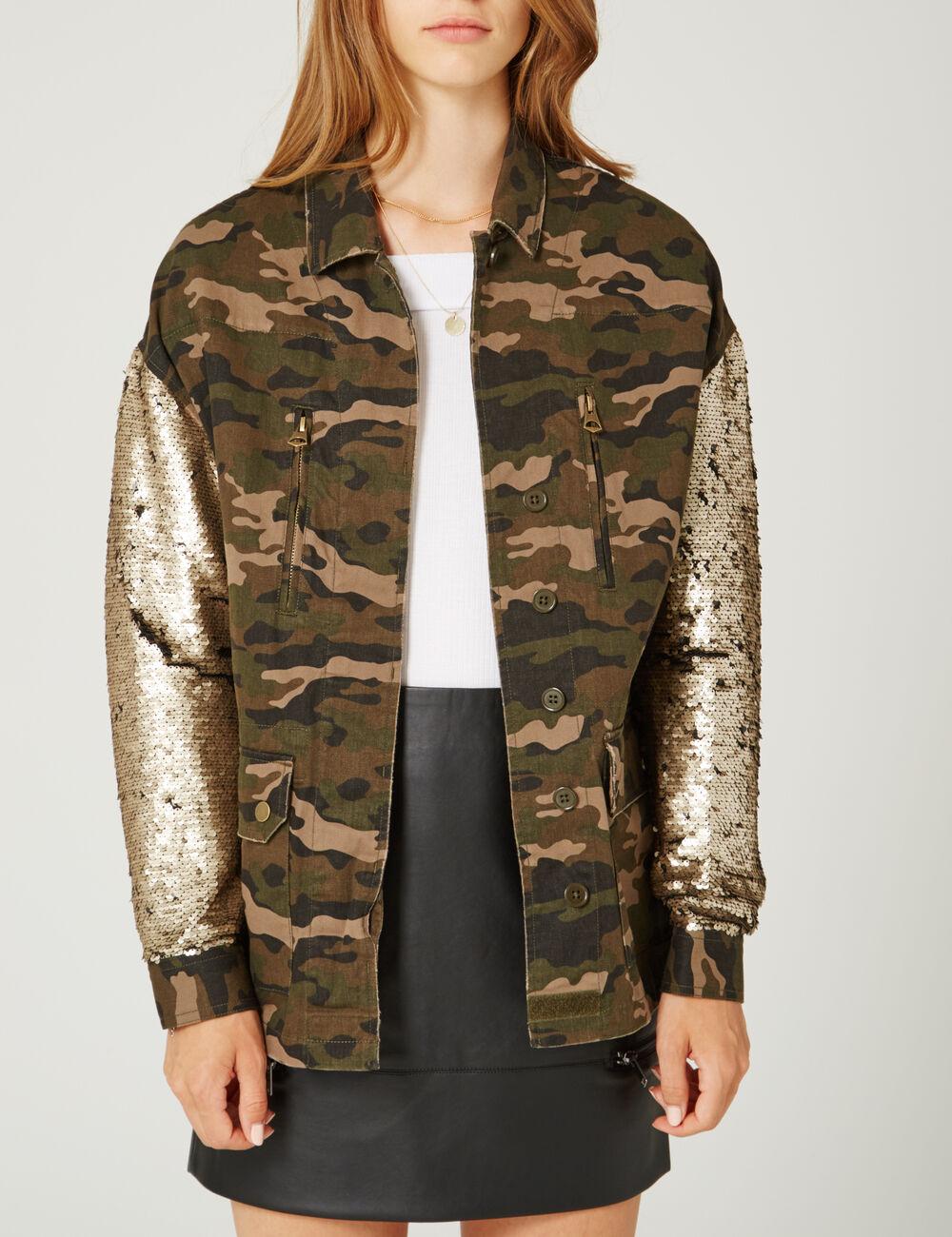 veste avec manches sequins camouflage kaki femme jennyfer. Black Bedroom Furniture Sets. Home Design Ideas