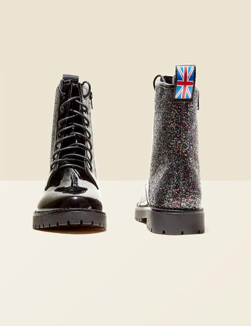 bottines rock pailletées noires