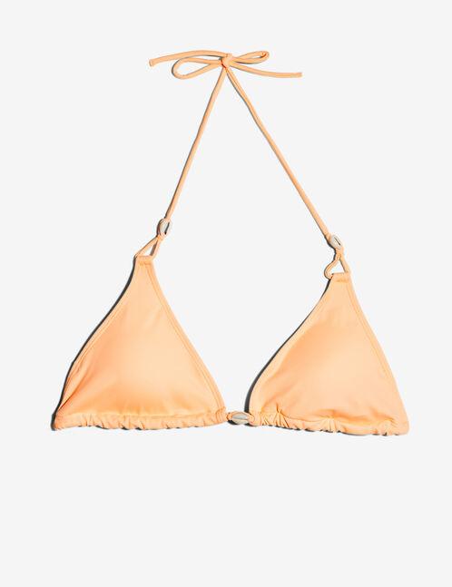 Coral triangular bikini top