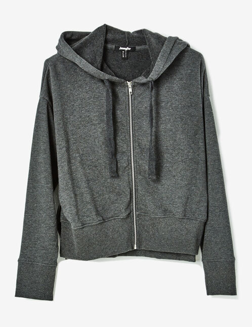 Charcoal grey marl zip-up hoodie