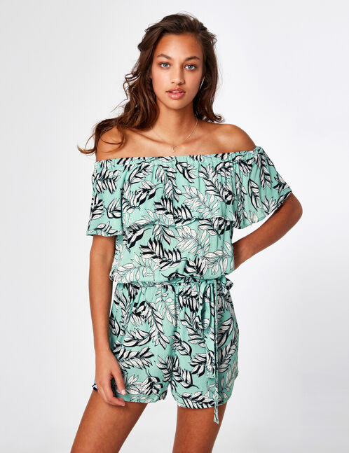 Sea green tropical playsuit