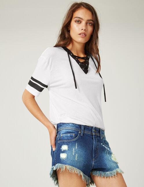 short en jean avec franges medium blue