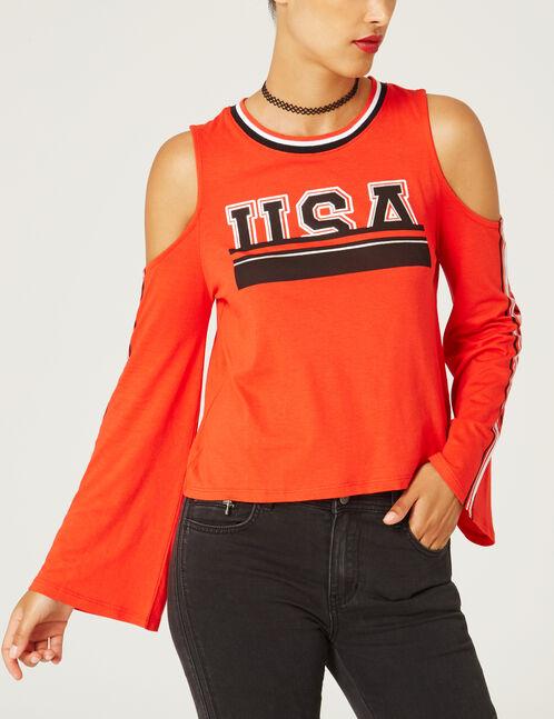 tee-shirt imprimé usa rouge