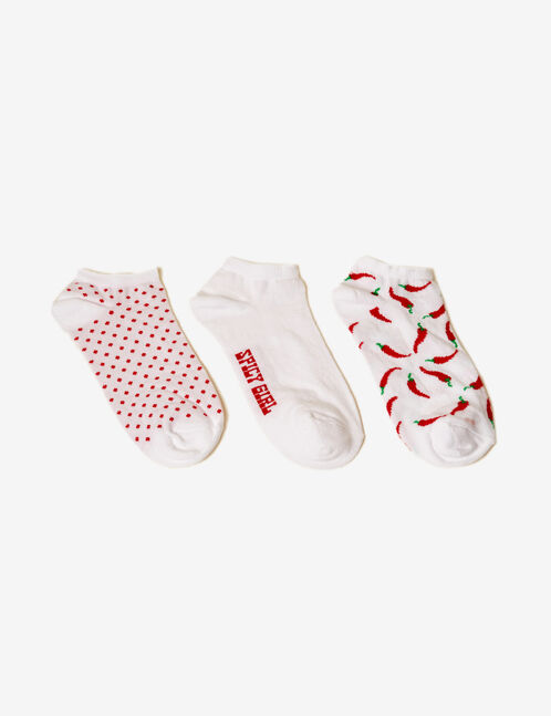 White and red motif socks