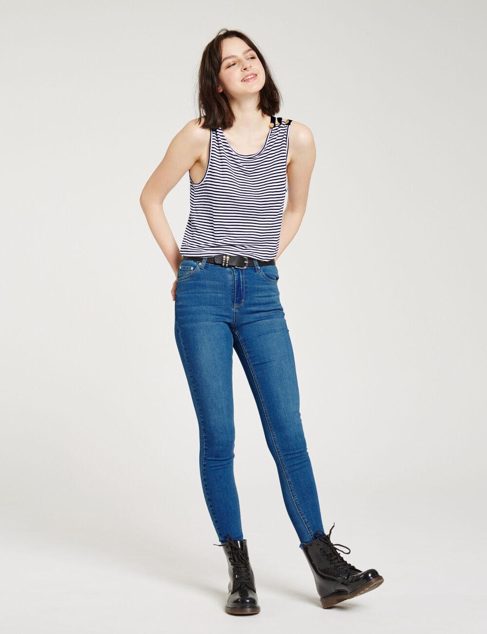 jean super skinny taille haute bleu fonc femme jennyfer. Black Bedroom Furniture Sets. Home Design Ideas