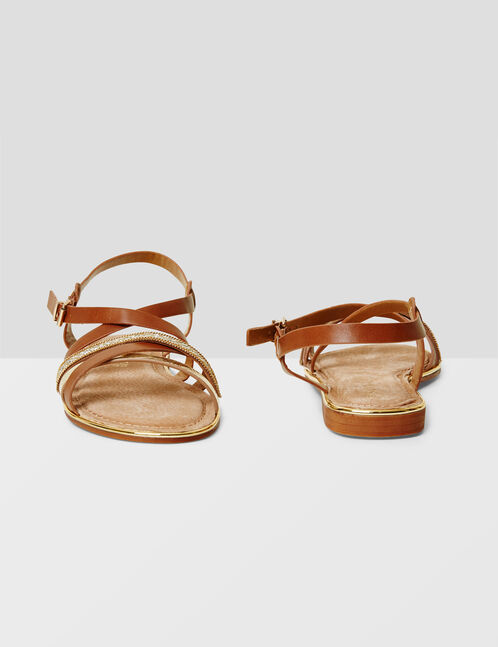 Camel and gold strappy sandals