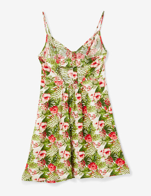 Cream, green and pink tropical button-front dress
