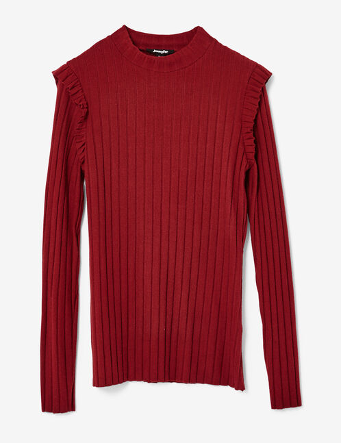 Burgundy ribbed top with frill detail