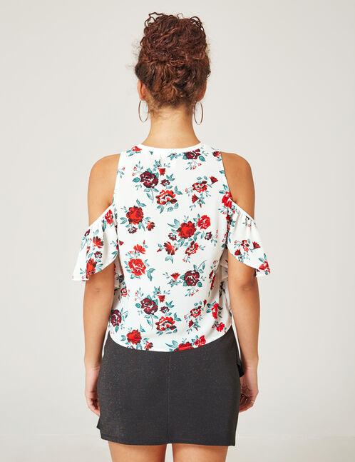 blouse épaules ajourées écrue