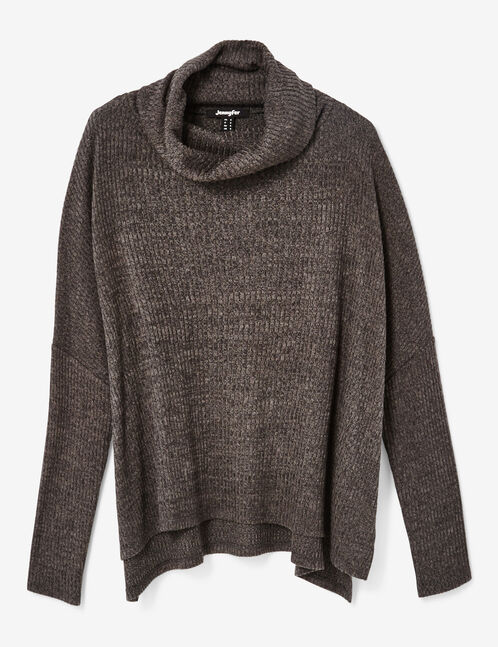 Charcoal grey marl polo neck top