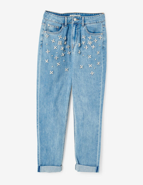 jean mom fit avec strass medium blue
