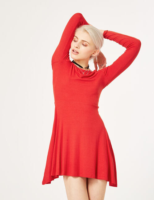 Red flared ribbed dress