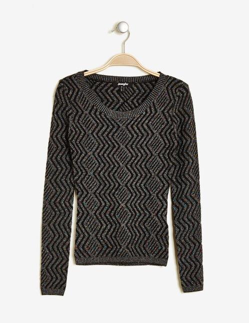 Black jumper with multi-coloured lurex detail