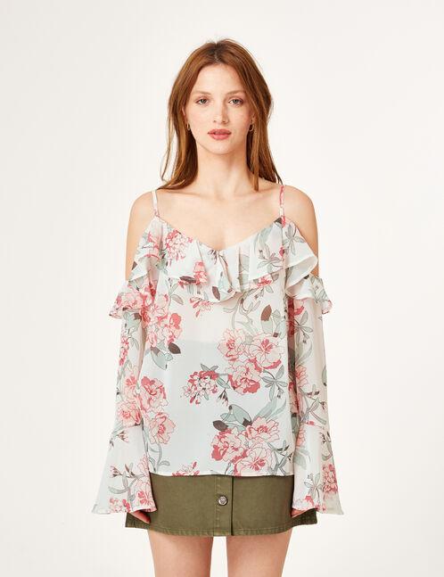 blouse fleurie avec volants rose clair