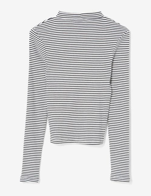 tee-shirt avec ouverture écru et noir
