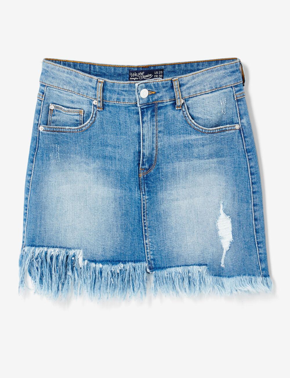 jupe en jean avec franges medium blue femme jennyfer. Black Bedroom Furniture Sets. Home Design Ideas