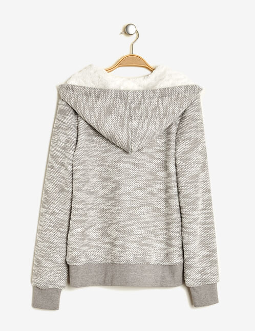 Grey marl and cream lined zip-up hoodie