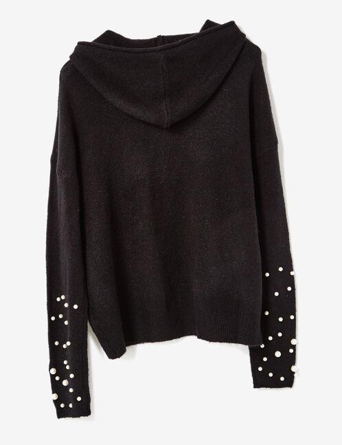 pull à capuche avec perles noir