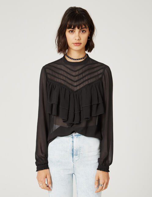 Black blouse with braiding and frill details