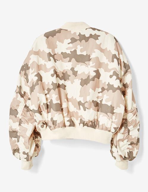 Beige camouflage bomber jacket