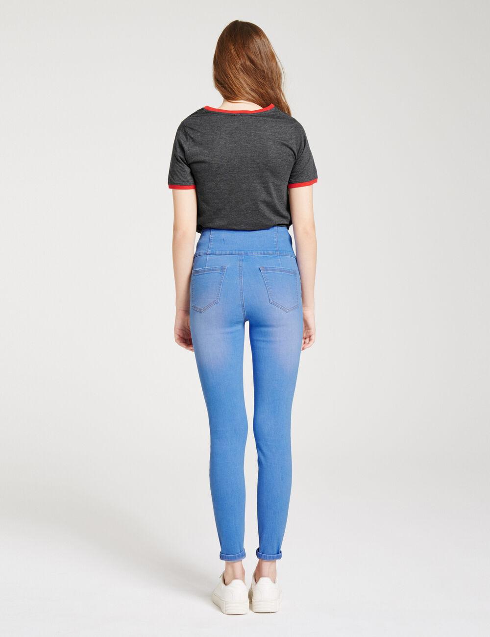 jean super taille haute bleu clair femme jennyfer. Black Bedroom Furniture Sets. Home Design Ideas