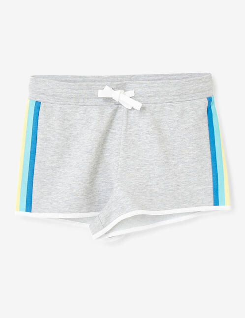 Grey marl shorts with side stripe detail
