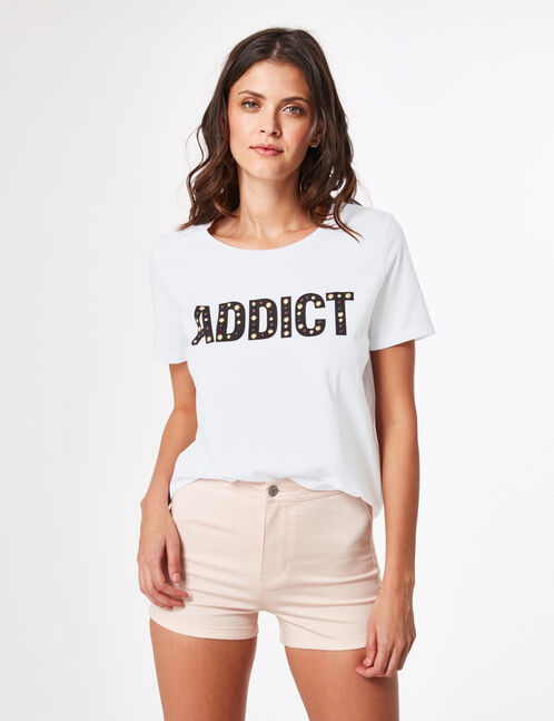 "White ""addict"" T-shirt"
