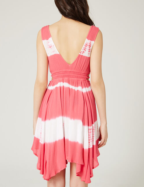 Pink and white dress with tie-dye detail