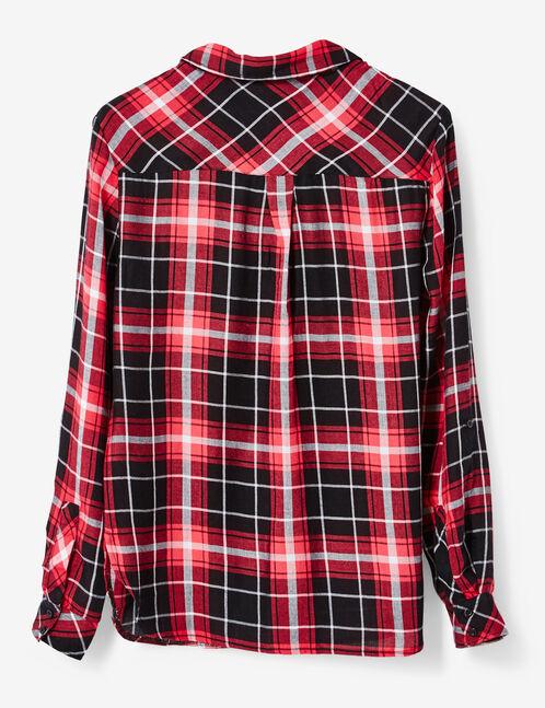 chemise à carreaux noire et rouge