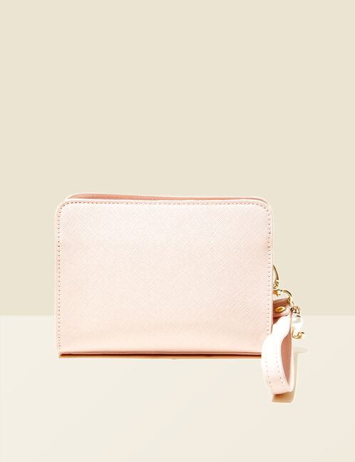Small light pink textured bag with charm detail