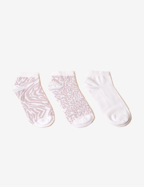 White and pink patterned socks