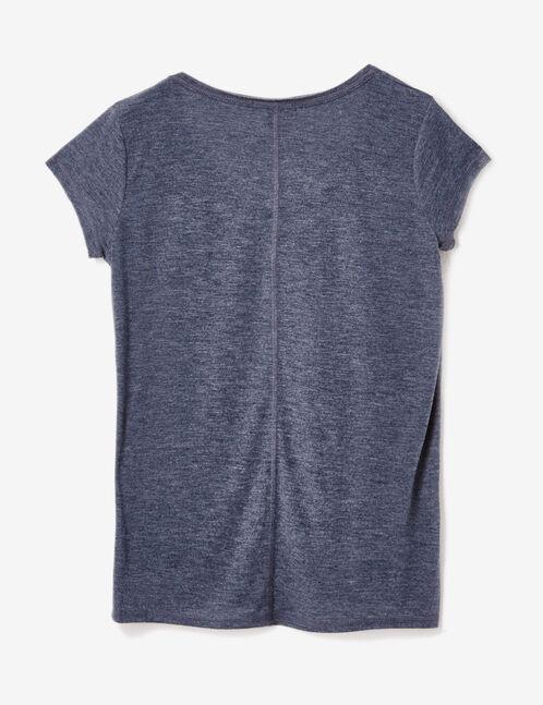 Indigo marl T-shirt with text design detail