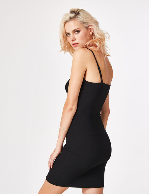 Black tube dress with strap detail