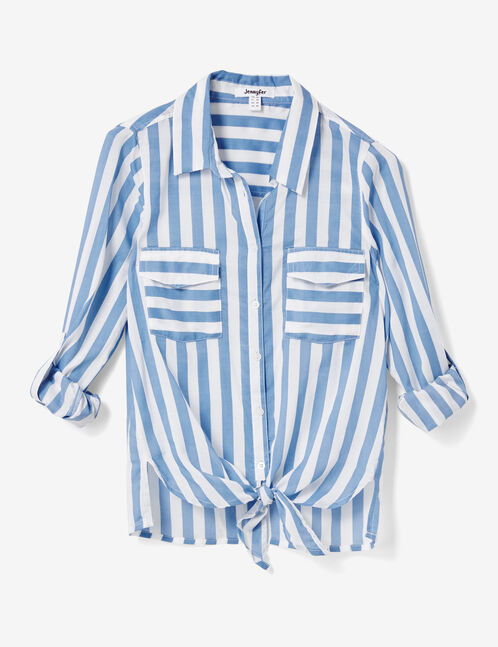 White and blue striped tie-fastening shirt