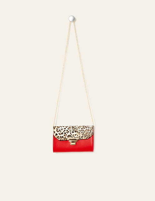Red and leopard print two-tone clutch