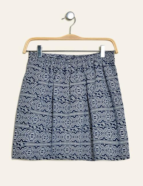 jupe courte motif aztèque bleu marine et écru