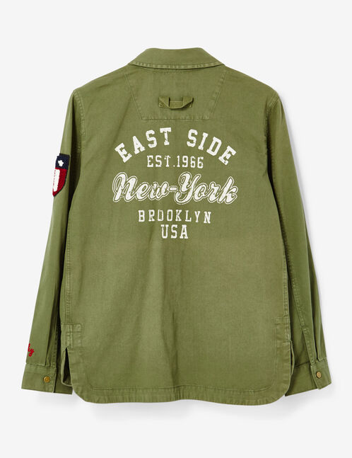 Khaki jacket with assorted patches