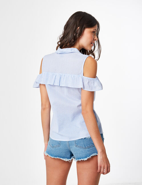 Cream and blue striped cold shoulder blouse