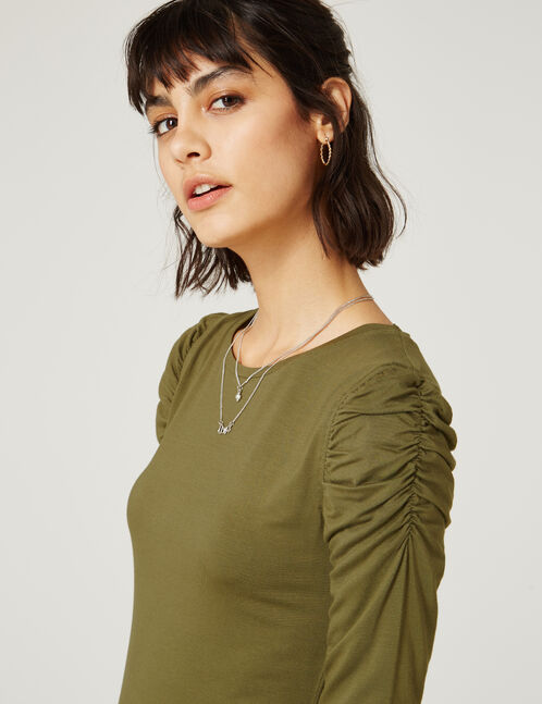 Khaki ruched sleeve top