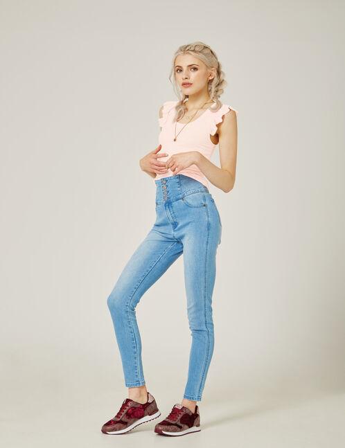 jean taille haute bleu clair